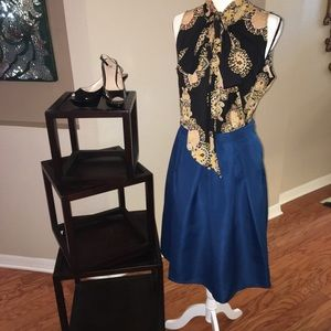 Teal Pleated Circle Skirt w/pockets